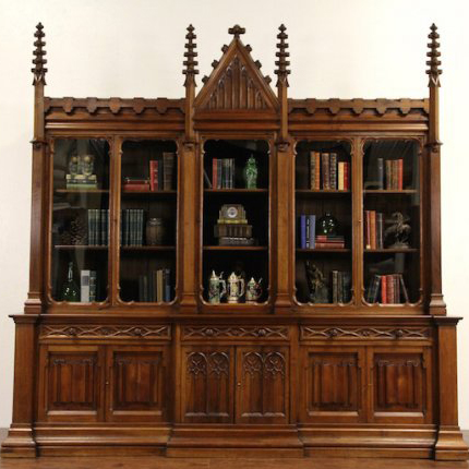 1870 Gothic English Library Bookcase or Display Cabinet