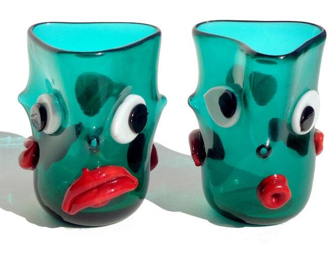 pair of murano handblown art glass face drinking glasses designer ansolo fuga 1960s estimate jasper52 image